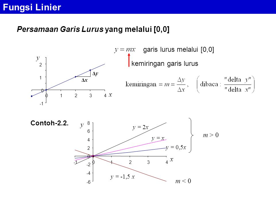 Fungsi Linier Persamaan Garis Lurus yang melalui [0,0]